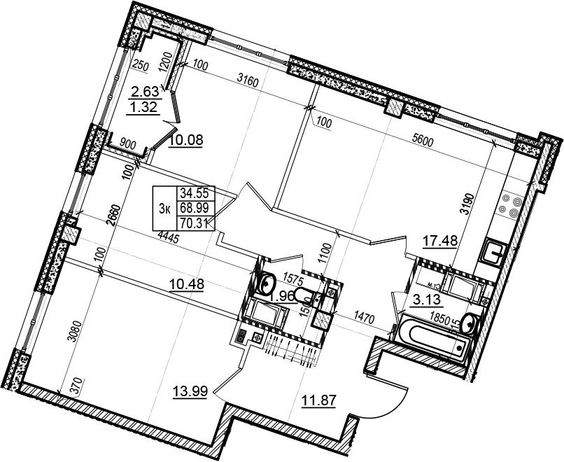 4-комнатная 71 м<sup>2</sup> на 6 этаже