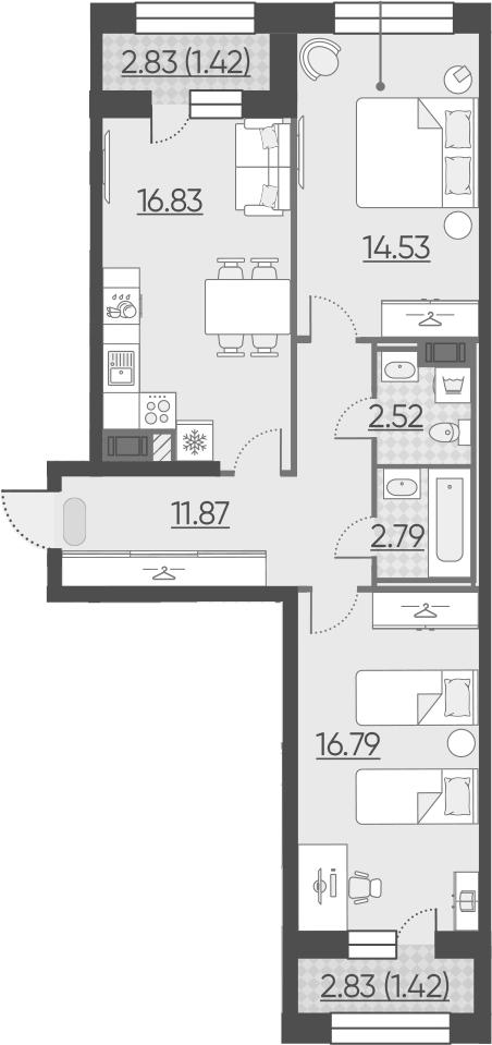 3-комнатная 71 м<sup>2</sup> на 8 этаже