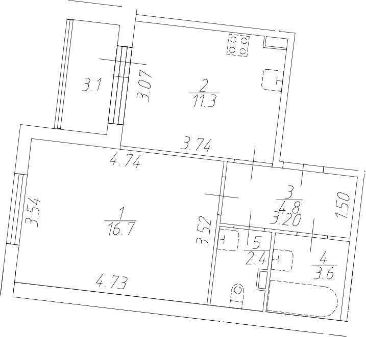 1-комнатная 41 м<sup>2</sup> на 1 этаже