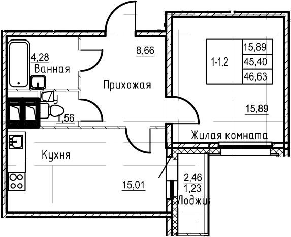 2-комнатная 47 м<sup>2</sup> на 21 этаже
