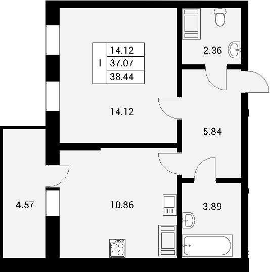 1-к.кв, 41.64 м²