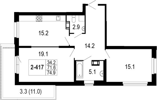 3-комнатная 83 м<sup>2</sup> на 5 этаже