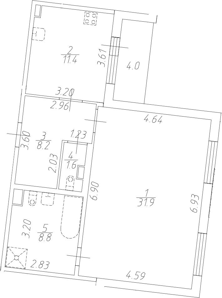 1-комнатная 65 м<sup>2</sup> на 1 этаже