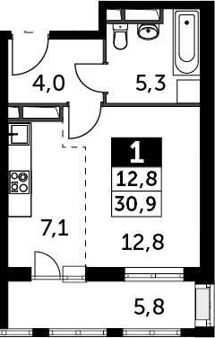 Студия, 34.96 м²