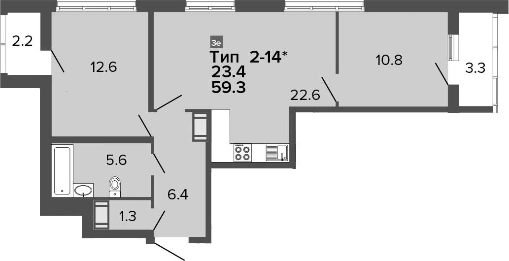 3-комнатная 64 м<sup>2</sup> на 15 этаже