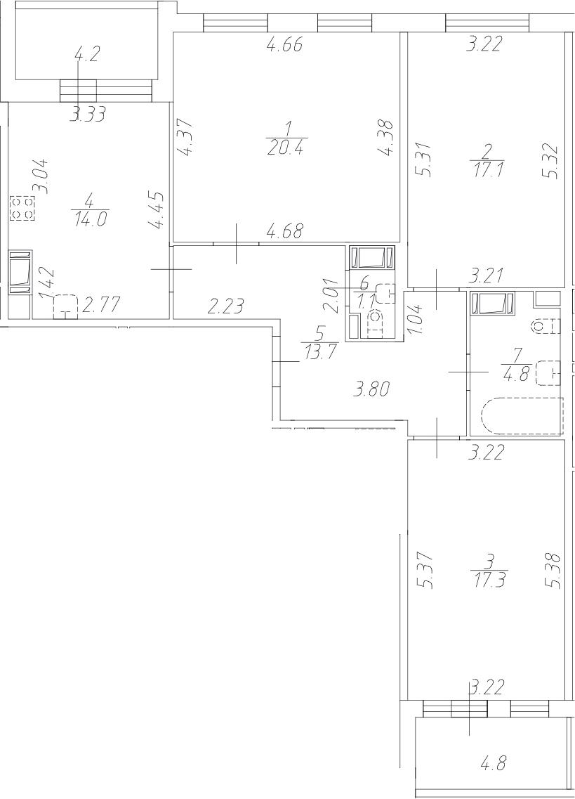 3-комнатная 97 м<sup>2</sup> на 5 этаже