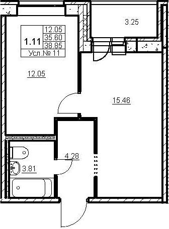 2-к.кв (евро), 38.58 м²