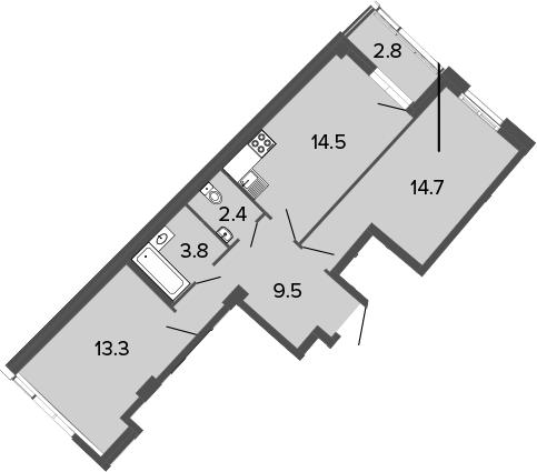 2-к.кв, 61 м²