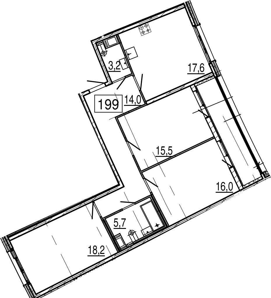 4-комнатная 97 м<sup>2</sup> на 2 этаже