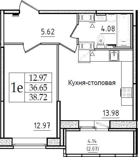 2-комнатная 40 м<sup>2</sup> на 6 этаже
