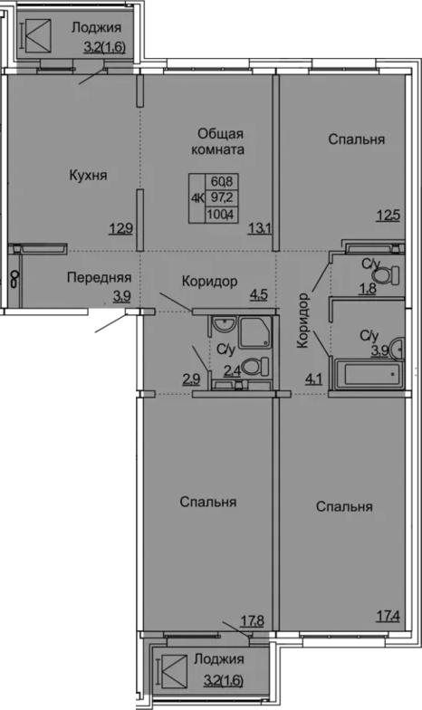 4-комнатная 103 м<sup>2</sup> на 11 этаже