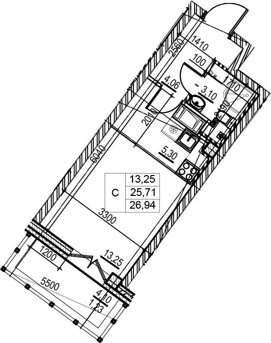 Студия 29 м<sup>2</sup> на 8 этаже