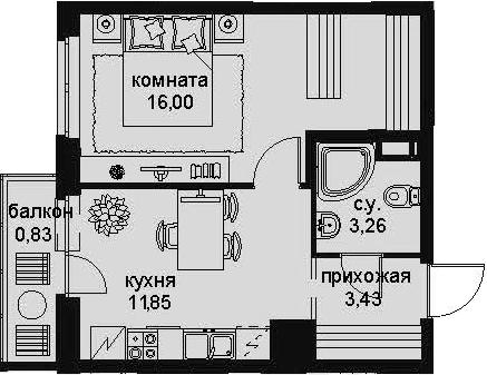 1-к.кв, 37.31 м²