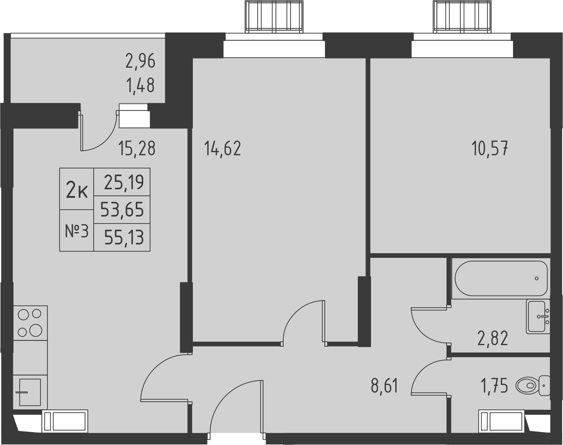 3-к.кв (евро), 56.61 м²
