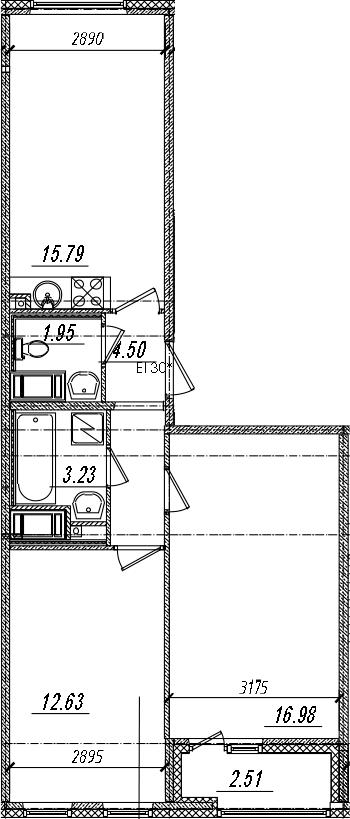 3-комнатная 57 м<sup>2</sup> на 12 этаже