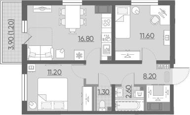 3-комнатная 55 м<sup>2</sup> на 15 этаже