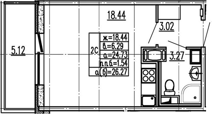 Студия 29 м<sup>2</sup> на 14 этаже
