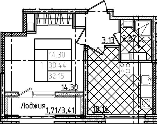 1-комнатная 33 м<sup>2</sup> на 19 этаже