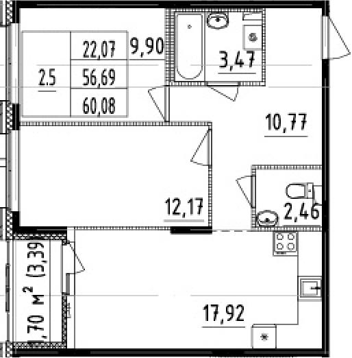 3-комнатная 60 м<sup>2</sup> на 1 этаже