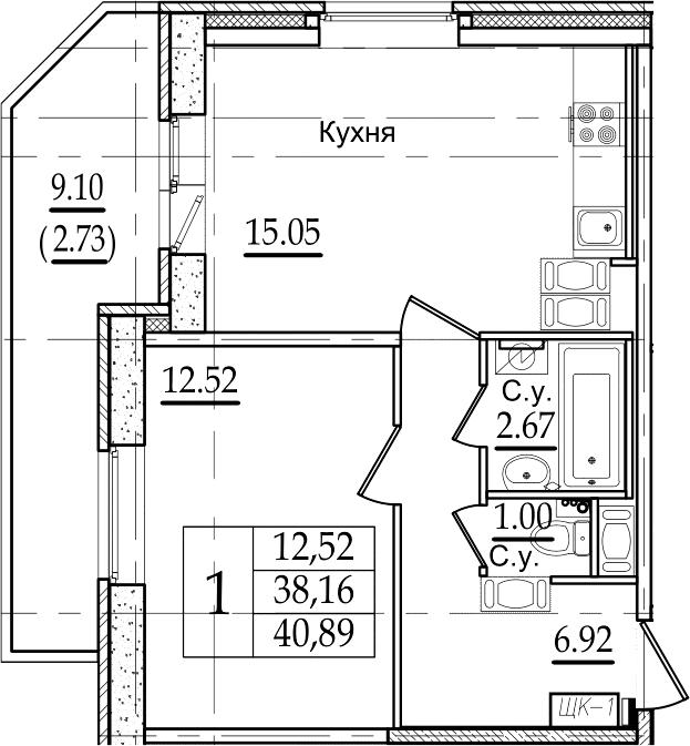 2-комнатная 47 м<sup>2</sup> на 22 этаже