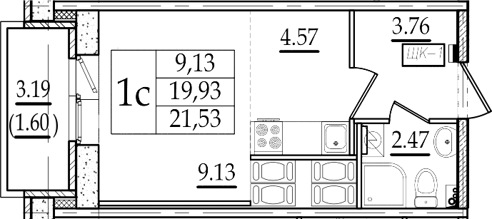 Студия 23 м<sup>2</sup> на 23 этаже