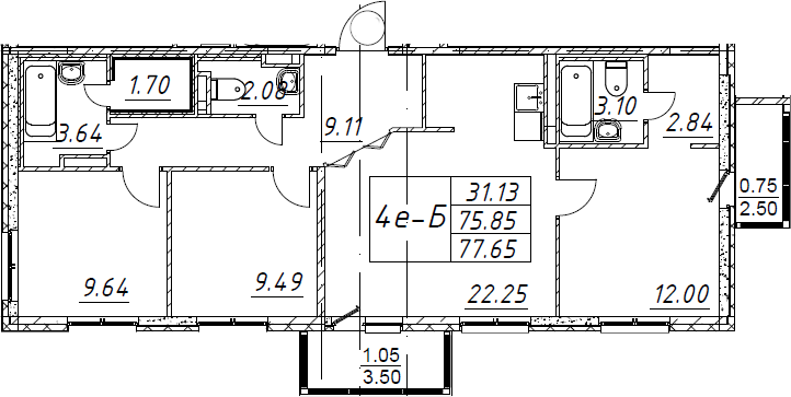 4-комнатная 81 м<sup>2</sup> на 2 этаже