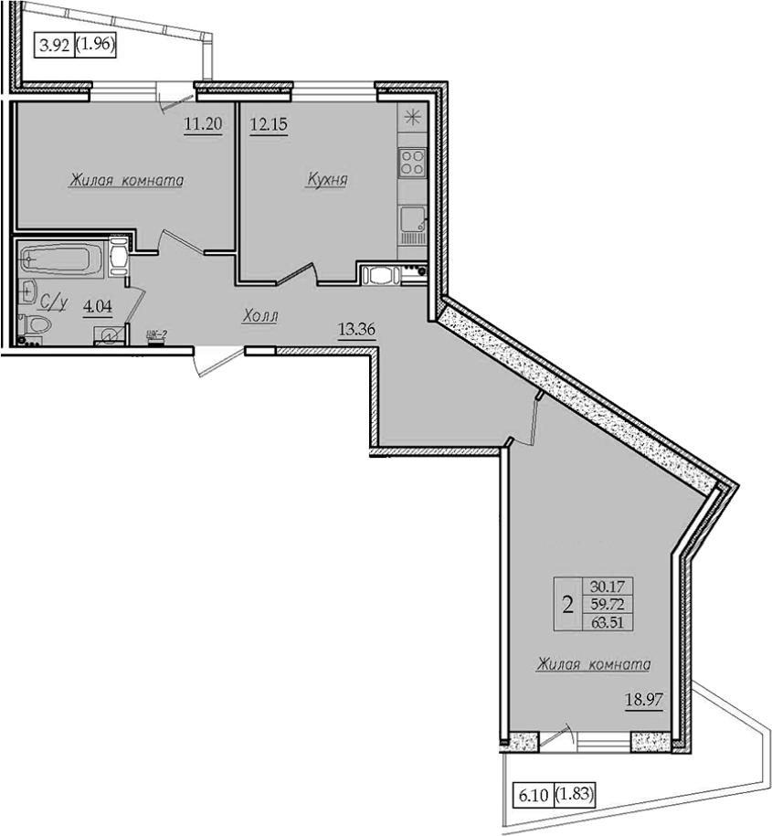 2-комнатная 69 м<sup>2</sup> на 7 этаже