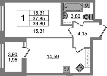 1-комнатная 41 м<sup>2</sup> на 22 этаже