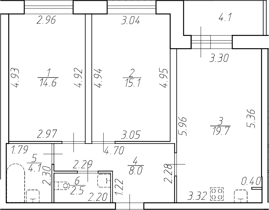 3-комнатная 68 м<sup>2</sup> на 1 этаже