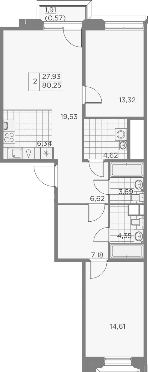 3-комнатная 82 м<sup>2</sup> на 5 этаже
