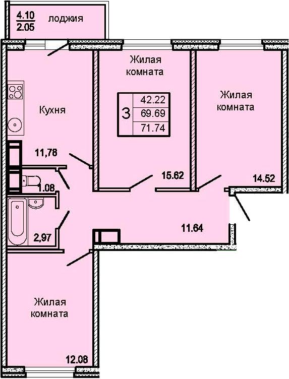3-комнатная 73 м<sup>2</sup> на 13 этаже