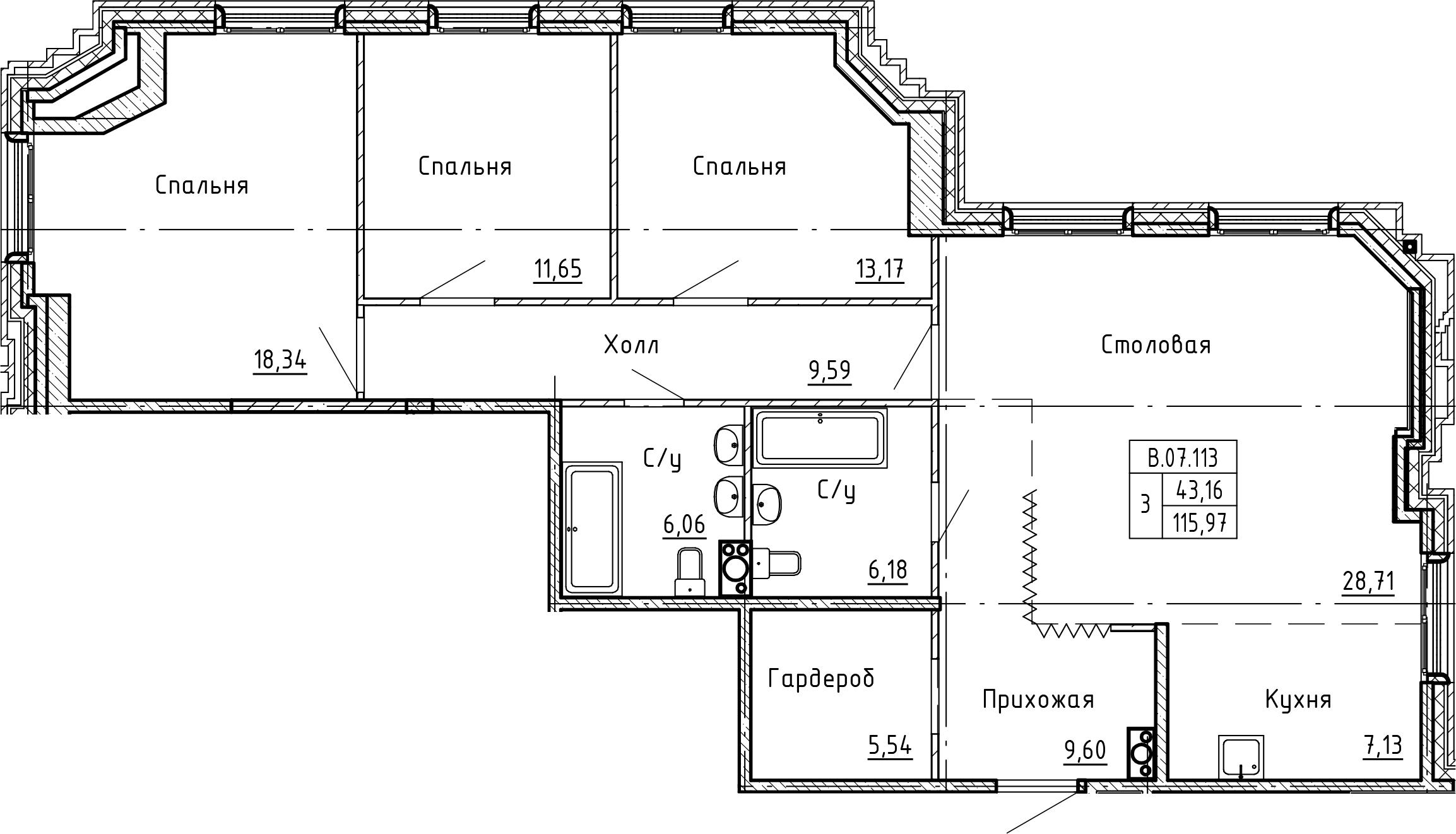 4-комнатная 115 м<sup>2</sup> на 7 этаже