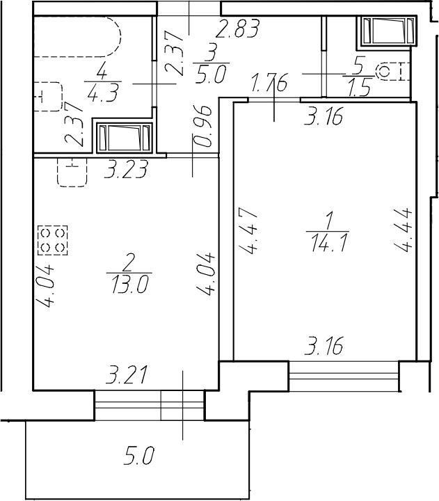 1-комнатная 42 м<sup>2</sup> на 8 этаже