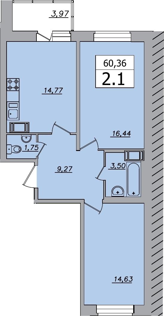 2-к.кв, 64.33 м²