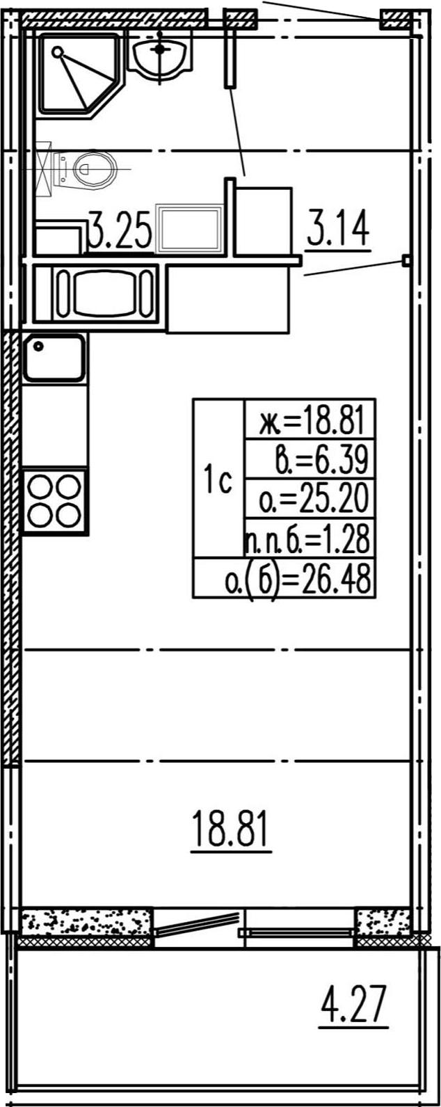 Студия 29 м<sup>2</sup> на 15 этаже