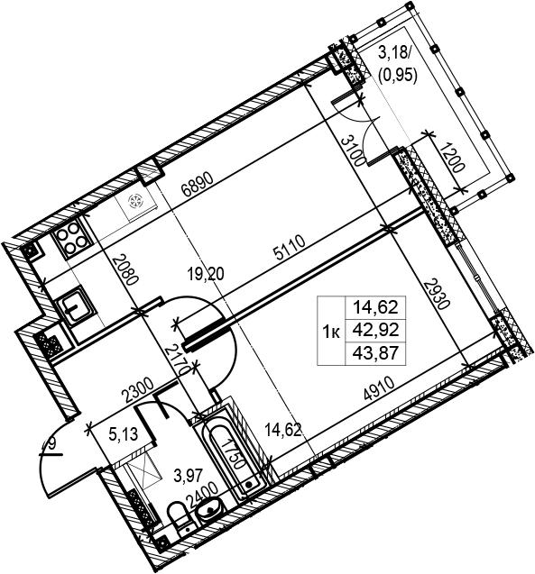 1-комнатная 46 м<sup>2</sup> на 5 этаже