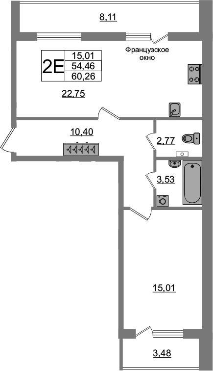 2-комнатная 66 м<sup>2</sup> на 1 этаже