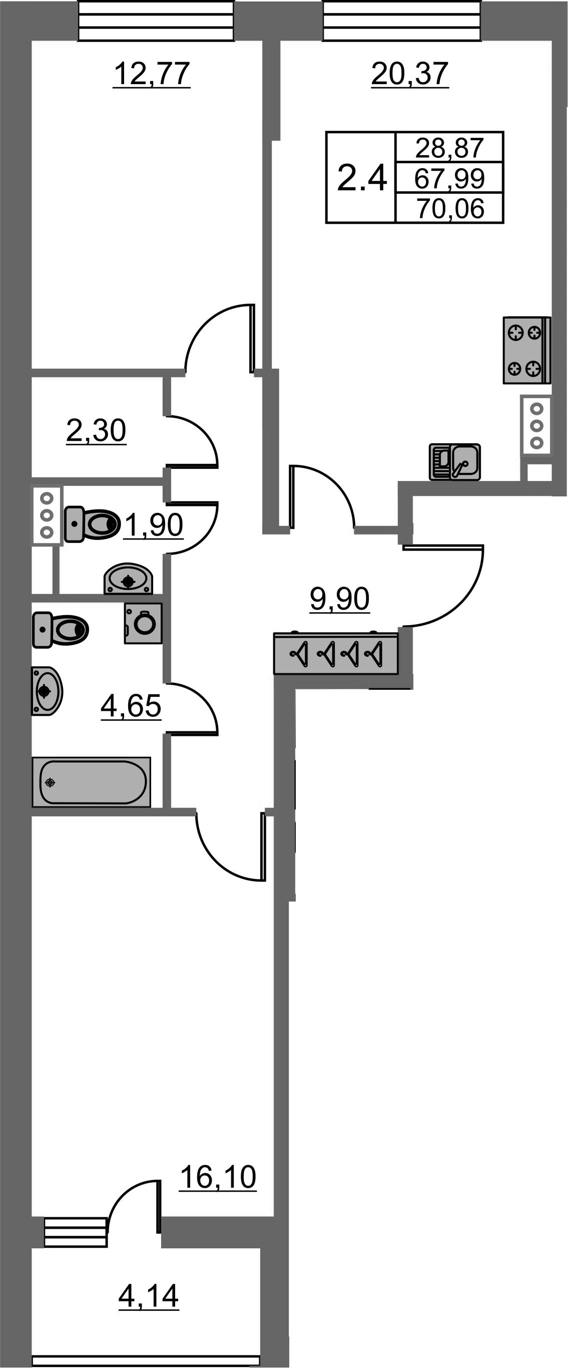3-комнатная 72 м<sup>2</sup> на 7 этаже