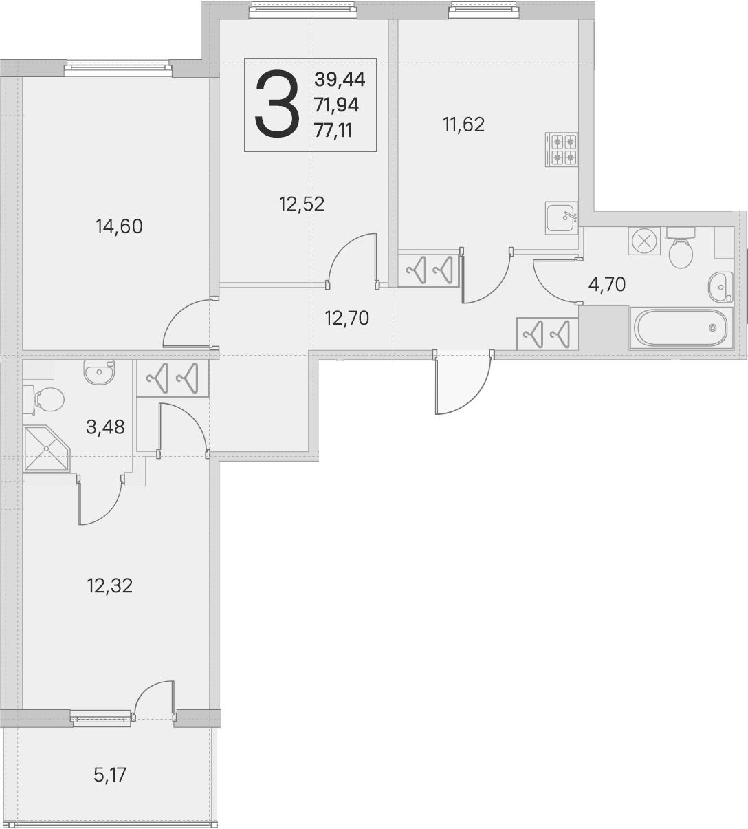 3-комнатная 77 м<sup>2</sup> на 1 этаже