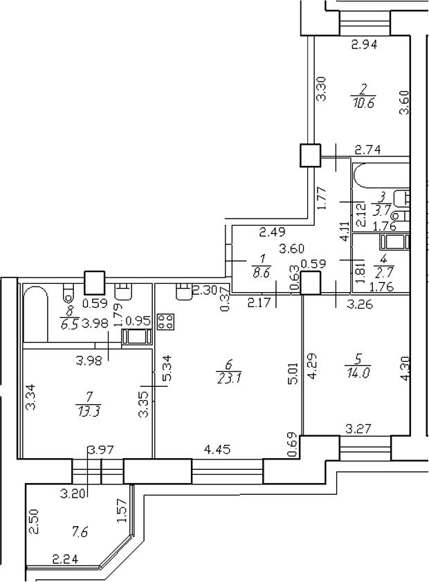 4-комнатная 90 м<sup>2</sup> на 4 этаже