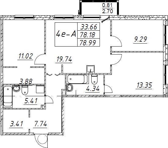4-комнатная 80 м<sup>2</sup> на 1 этаже