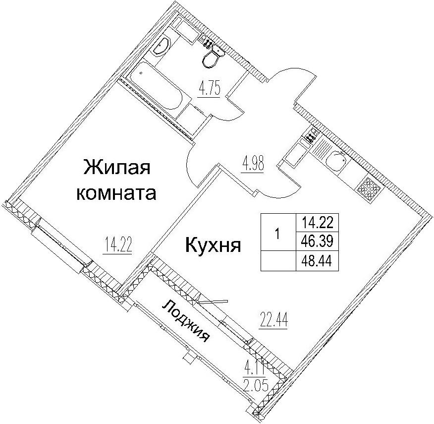 2-комнатная 50 м<sup>2</sup> на 3 этаже
