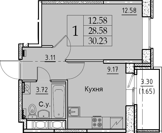 1-комнатная 31 м<sup>2</sup> на 6 этаже