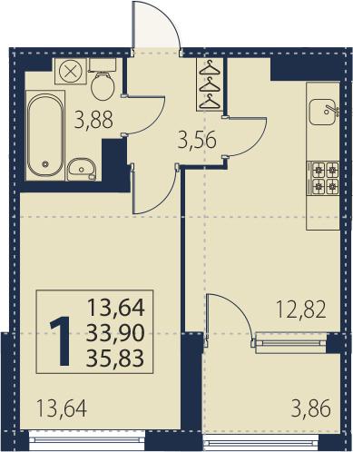 1-к.кв, 37.76 м²