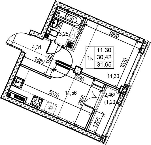 1-комнатная 32 м<sup>2</sup> на 5 этаже