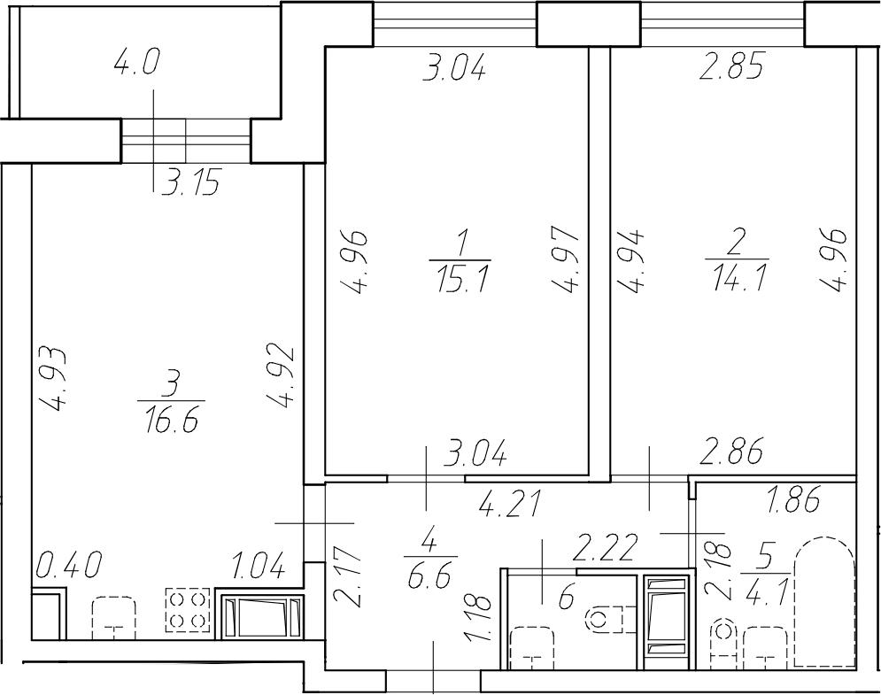 3-комнатная 62 м<sup>2</sup> на 4 этаже
