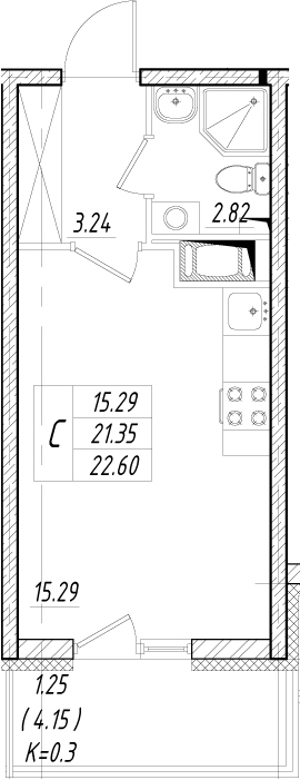 Студия 25 м<sup>2</sup> на 8 этаже