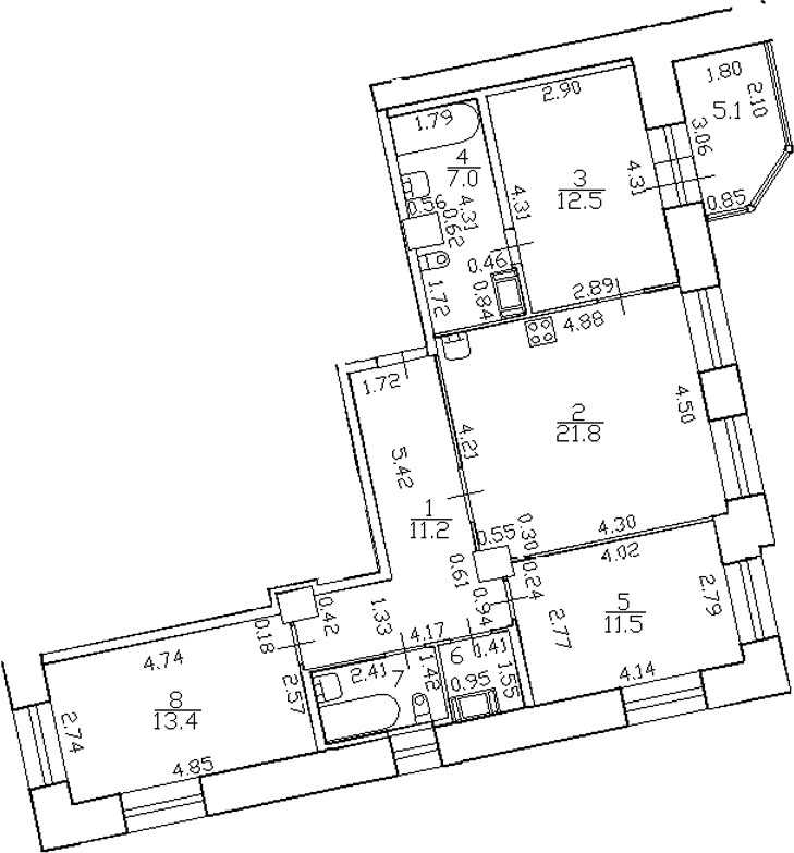 4-комнатная 87 м<sup>2</sup> на 4 этаже