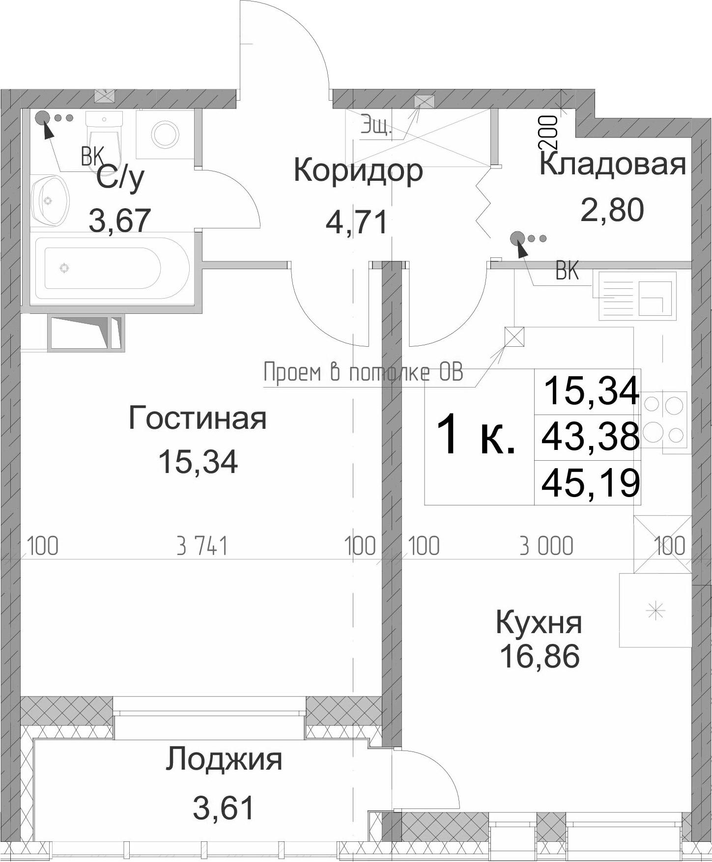 1-к.кв, 46.99 м²