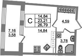Студия 30 м<sup>2</sup> на 20 этаже